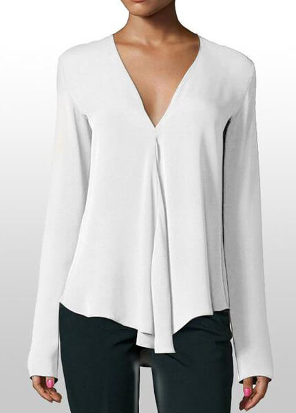 V Neck Long Sleeve Loose Chiffon Shirt