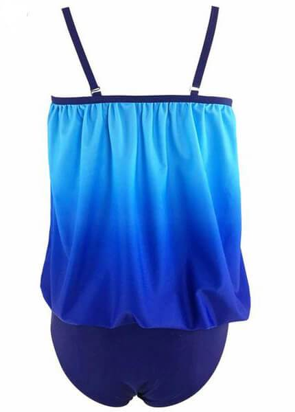 Large Size  Strap Two Piece Tankini - fashionyanclothes