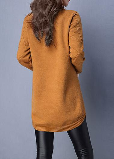 Turtleneck Knit Pocket Sweater - fashionyanclothes