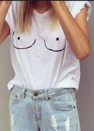 White Tit Tee Breast Printed Emoji T-Shirt - esshe