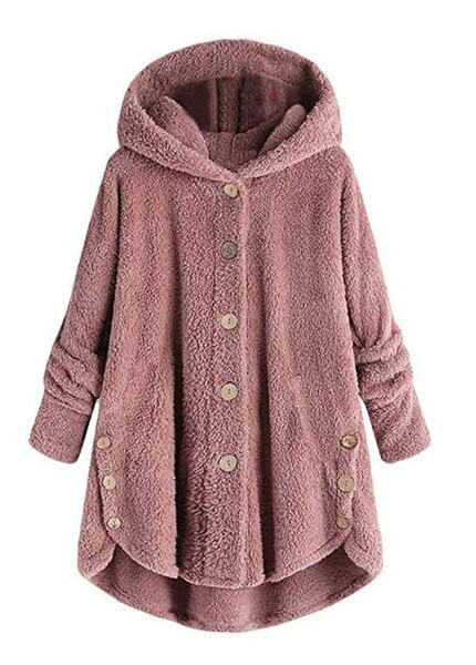 Hooded Collar Long Sleeve Button Up Coat - fashionyanclothes