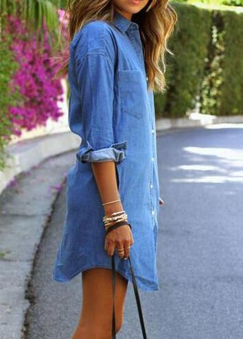 Fashion Casual Pockets Denim Dress - fashionyanclothes