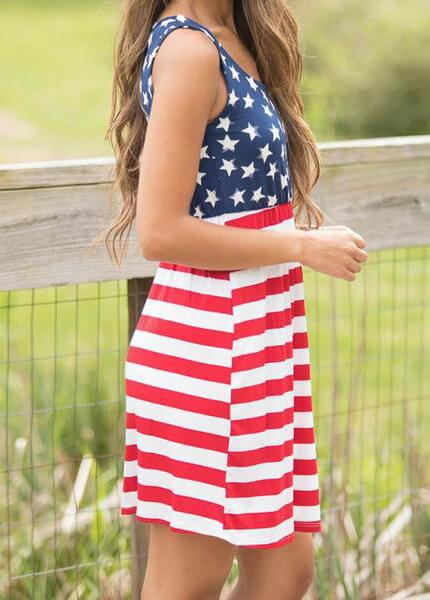 Hot Sale Flag Printing Summer Dress - fashionyanclothes