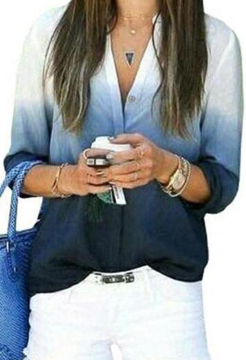 V neck Long Sleeve Button Down Casual Blouse