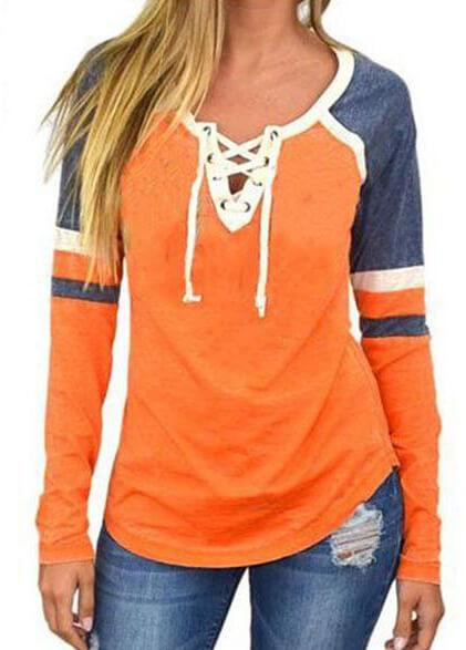 V Neck Bandage Lace Up Tee