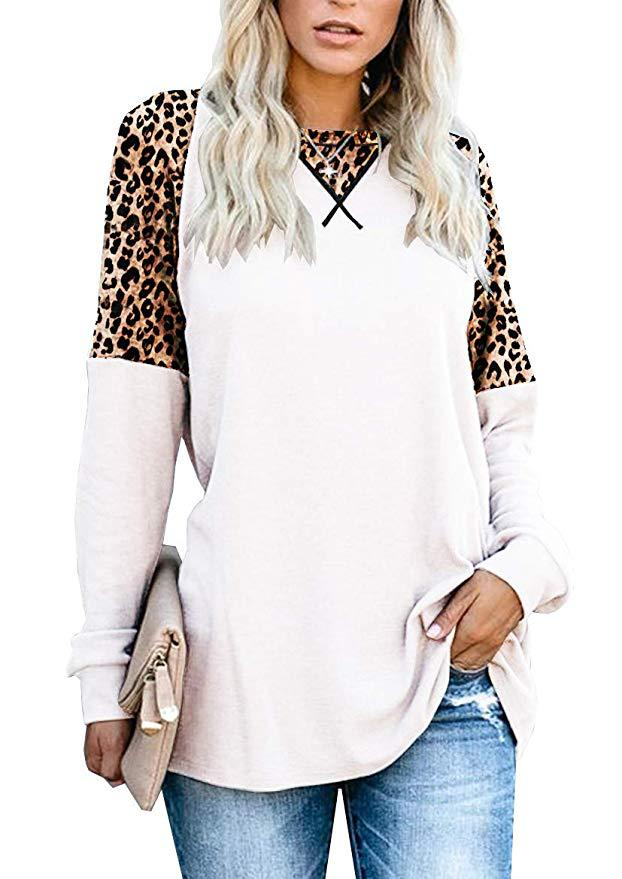Long Sleeve Leopard Print Patchwork Top - fashionyanclothes