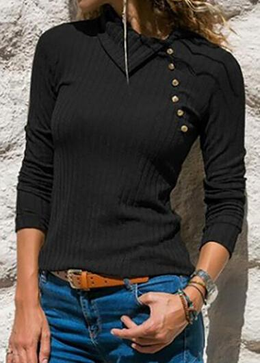 Solid Long-sleeved Lapel Button Top