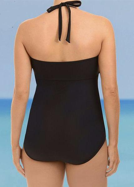 Plus Size Women One Piece Push Up Swimsuit - esshe
