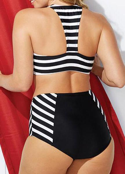 Front Zipper  Stripe Swimwear - fashionyanclothes