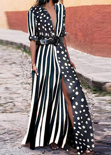 Turndown Striped Dot Print dress - fashionyanclothes