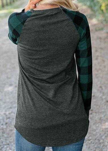 Plaid Splice Round Collar Sweatshirt - fashionyanclothes