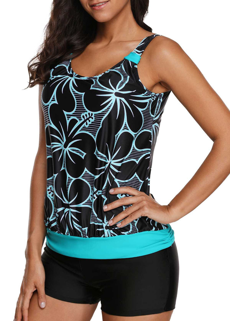 Floral Print Tankini Top and Black Shorts