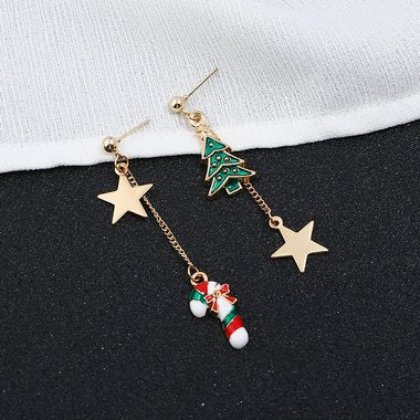 Christmas Candy Cane Embellished Star Shape Earrings - fashionyanclothes