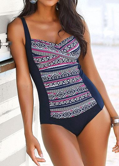 Wide Strap Printed Underwire One Piece Swimwear