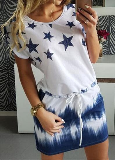 Short Sleeve Star Print Mini  Dress
