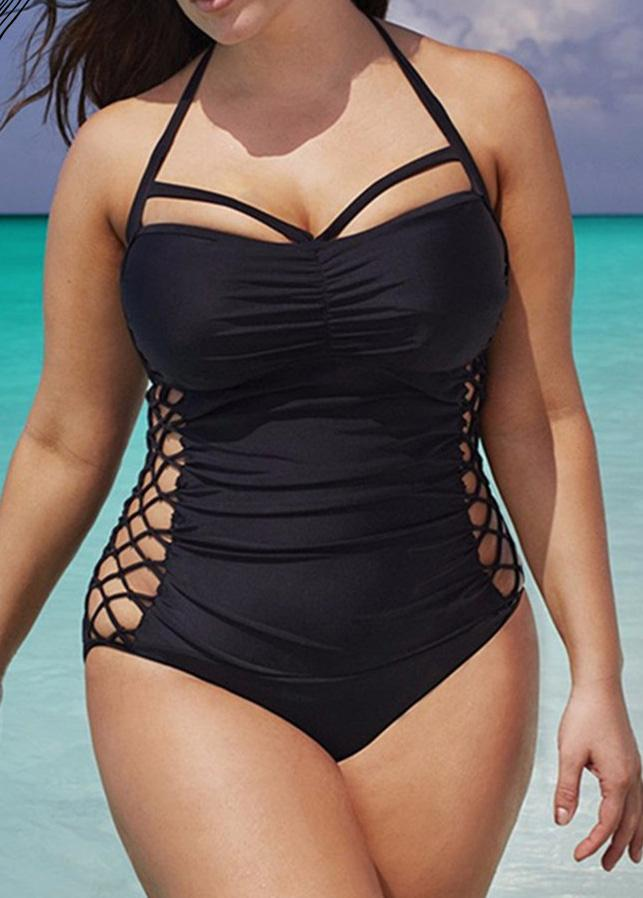 Plus Size Women One Piece Push Up Swimsuit - fashionyanclothes