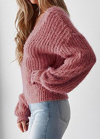 V Neck Open Back Sweater - fashionyanclothes