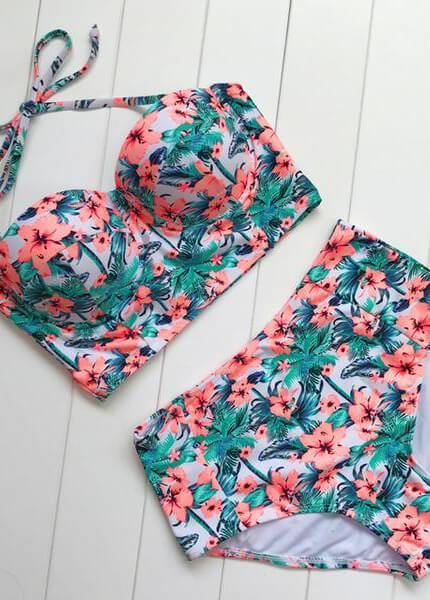 Sexy Floral Print High Waist Swimsuit - esshe