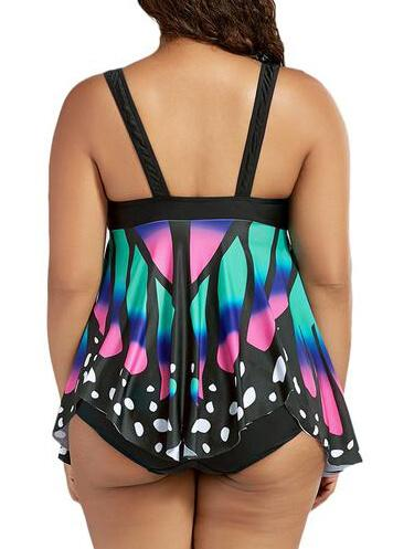 High Waist Butterfly Print Tankini - fashionyanclothes
