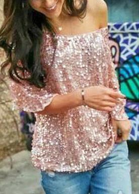 Loose Off Shoulder Sequin Glitter Blouses - fashionyanclothes