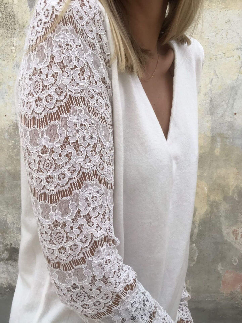 Sexy Hollow Lace Sleeve Blouse
