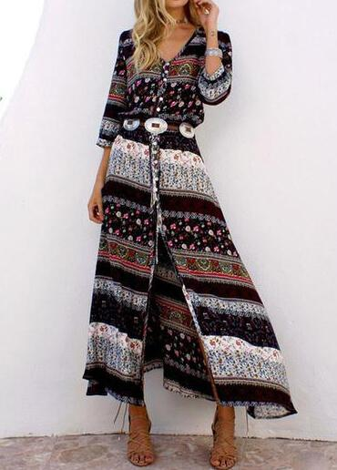 Maxi Floor Length Casual Split Retro  Dress - fashionyanclothes