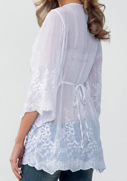 White Loose  Fashion Lace Blouse