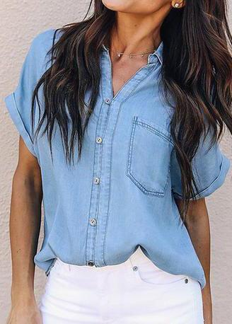 Sexy Ladies Buttons Pockets Denim Blouses - esshe