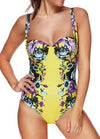 Yellow Printed Swimming Suit - esshe