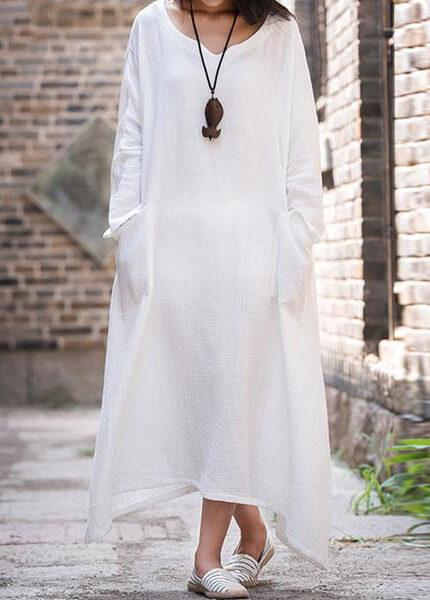 V Neck Long Sleeve Cotton Long Maxi Dress