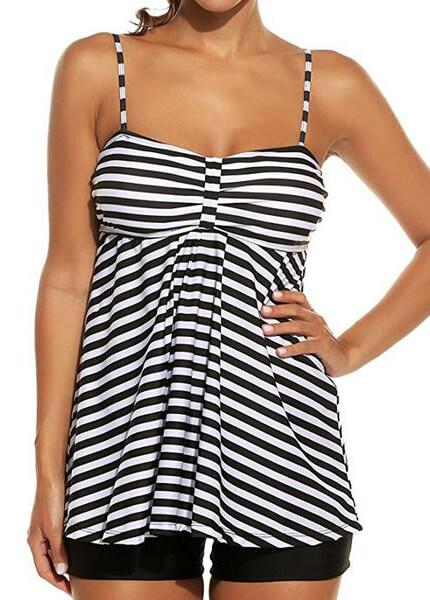 Plus Size Vintage Solid Striped Tankini - fashionyanclothes