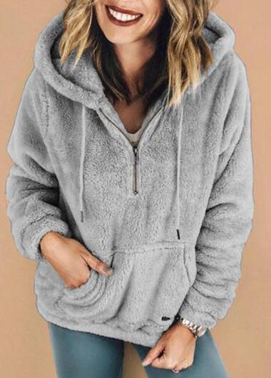 Grey Fleece Warm Coat With Pocket - fashionyanclothes