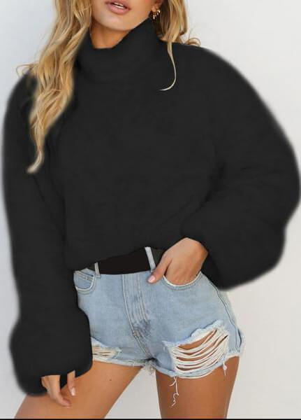 Solid Color Long Sleeve High Collar Sweater