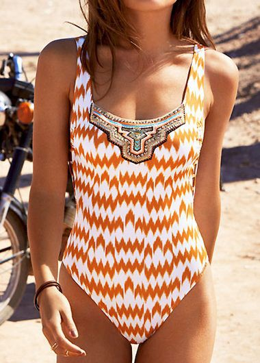 Printed Padded Orange One Piece Swimwear