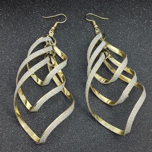 Geometric Shape Design Gold Metal Earrings - fashionyanclothes