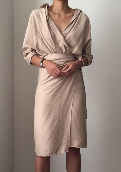 Vintage Wrap Front Split Tie waist Dress