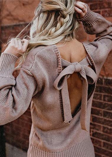Bowknot Backless Knitting Sweater - fashionyanclothes