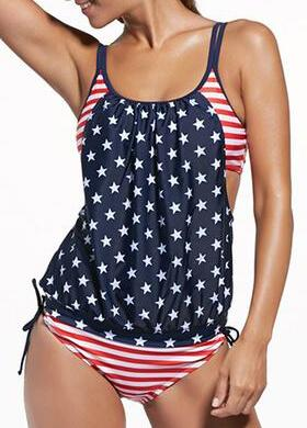 Striped  Padded Swimsuit - fashionyanclothes