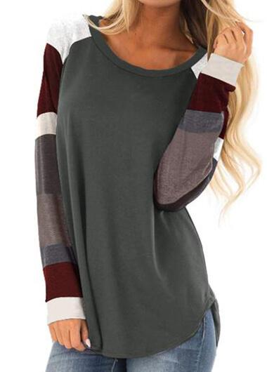 Crewneck Printed Spliced Long Sleeve T - Shirt - fashionyanclothes