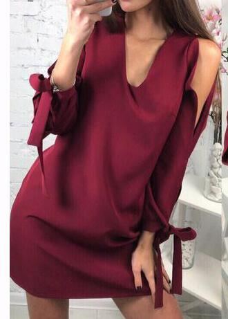 V Neck Off Shoulder Bow Dress - fashionyanclothes