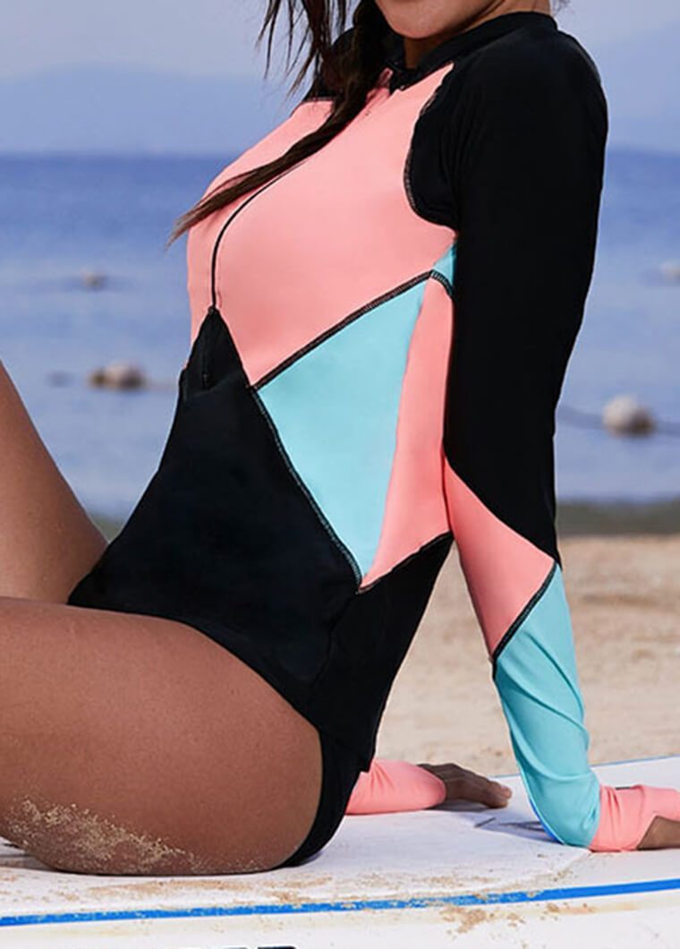 Color Block Long Sleeve Wetsuit - fashionyanclothes
