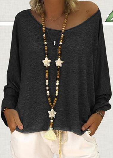 Black Long Sleeves Loose Blouse - fashionyanclothes
