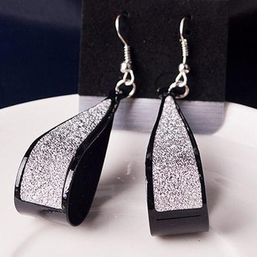 Water Drop Pattern Matting Silver Earrings - fashionyanclothes