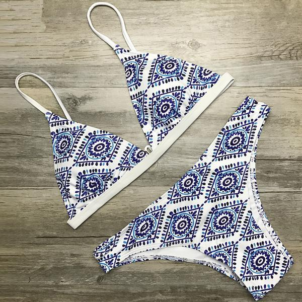 White Floral Halter ThongSwimsuit - fashionyanclothes