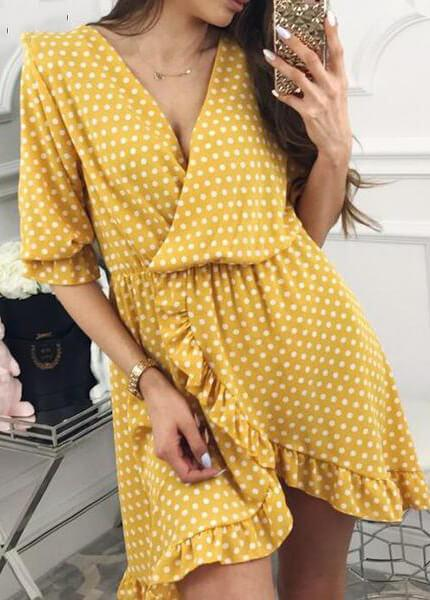 Dot Print Casual Boho Tunic Irregular Wrap Dress - fashionyanclothes