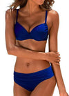 Retro Solid Push Up Bathing Suit - esshe