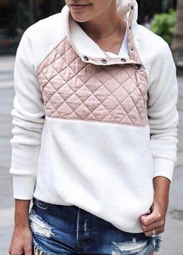 Autumn Women Hoodies Cotton Fleece Patchwork - fashionyanclothes