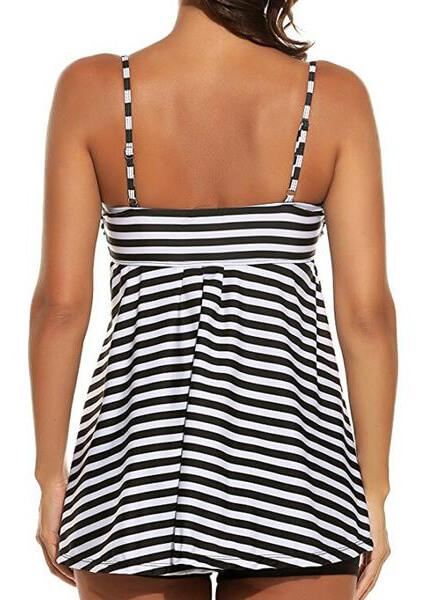 Plus Size Vintage Solid Striped Tankini - esshe