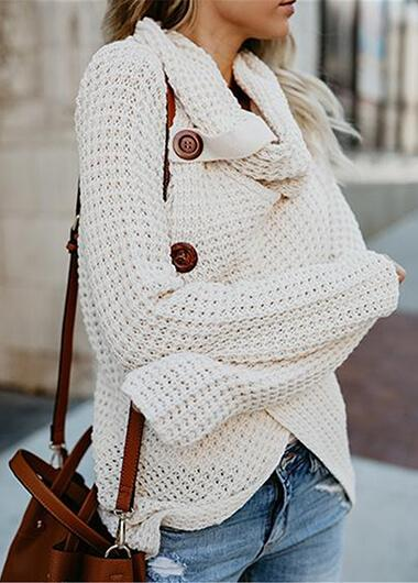 Solid  Long Sleeve Sweater - fashionyanclothes