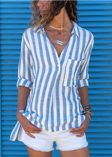 Striped Botton Up Pocket Blouse - fashionyanclothes